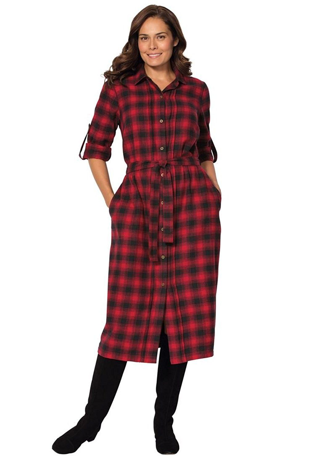 Women\'s Plus Size Flannel Shirt Dress ** Quickly view this special ...