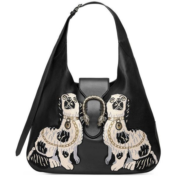 Gucci Dionysus Embroidered Leather Hobo (€3.180) ❤ liked on Polyvore featuring bags, handbags, shoulder bags and women