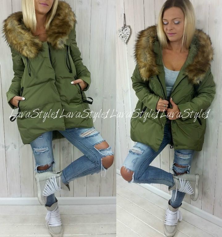 Asymetryczna Puchowa Kurtka Jenot Parka Khaki 44 5704602291 Oficjalne Archiwum Allegro Fashion Fur Coat Coat