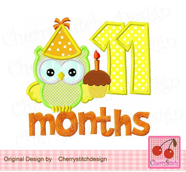 Baby 11 Months Birthday Number 11 With Owl Design For Boys New Baby Months Digital Applique 4x4 5x5 6x6 Inch Birthday Numbers Baby Boy Applique Baby Applique