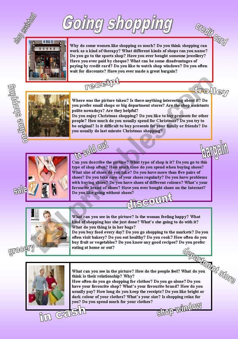 Going shoppingconversation topics ESL worksheet by