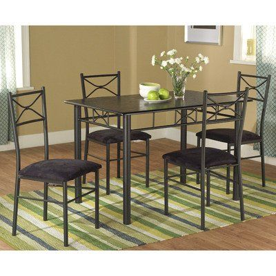 Target Marketing Systems 5 Piece Valencia Dining Set With 1 Table And 4 Chairs Black Read Small Kitchen Table Sets Metal Dining Set Kitchen Table Settings