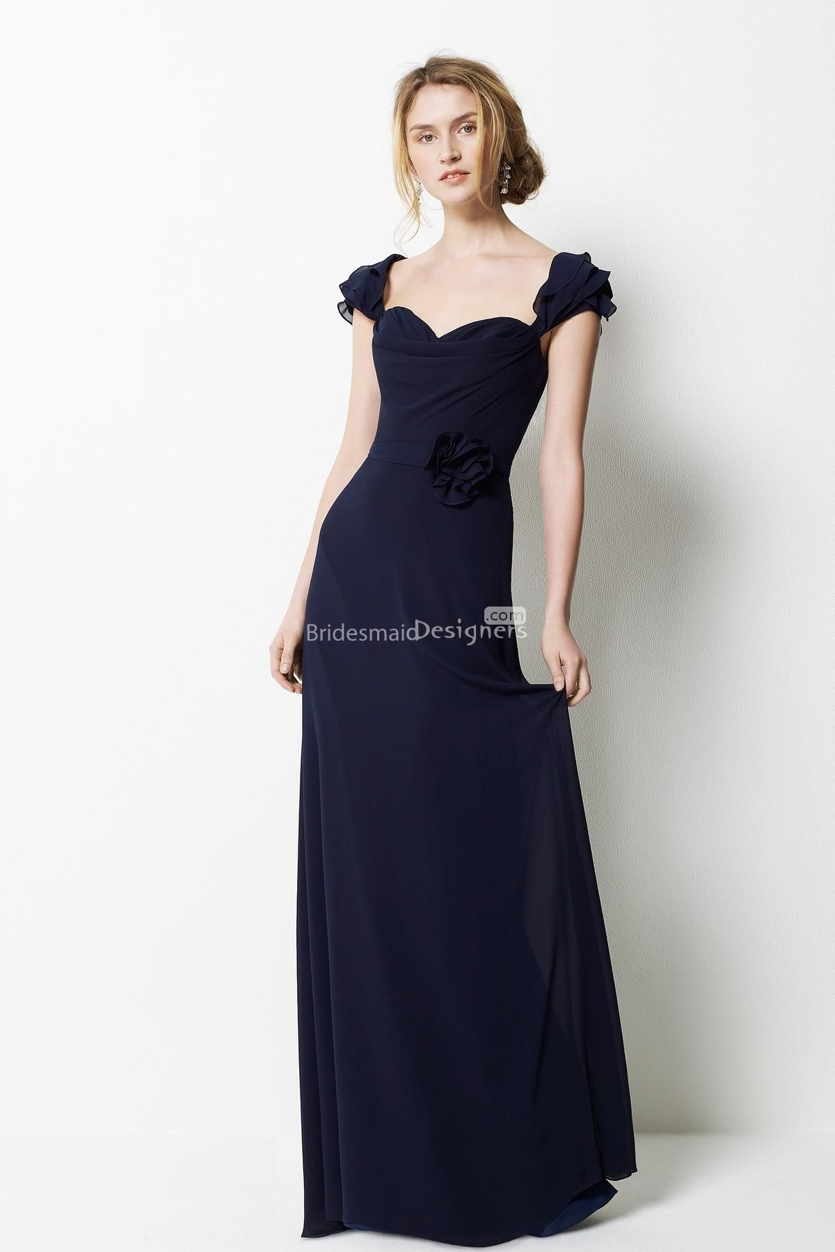 Cap sleeve navy knee length dress google search things to wear explore bridesmaid gowns bridesmaid ideas and more cap sleeve navy knee length dress ombrellifo Image collections