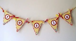 Banner inspiration. Use up some of the red & yellow gingham in my fabric-stash.