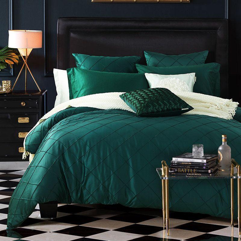 Image Result For Dark Green Bedding Green Bedding Bedroom Design Bed Linens Luxury