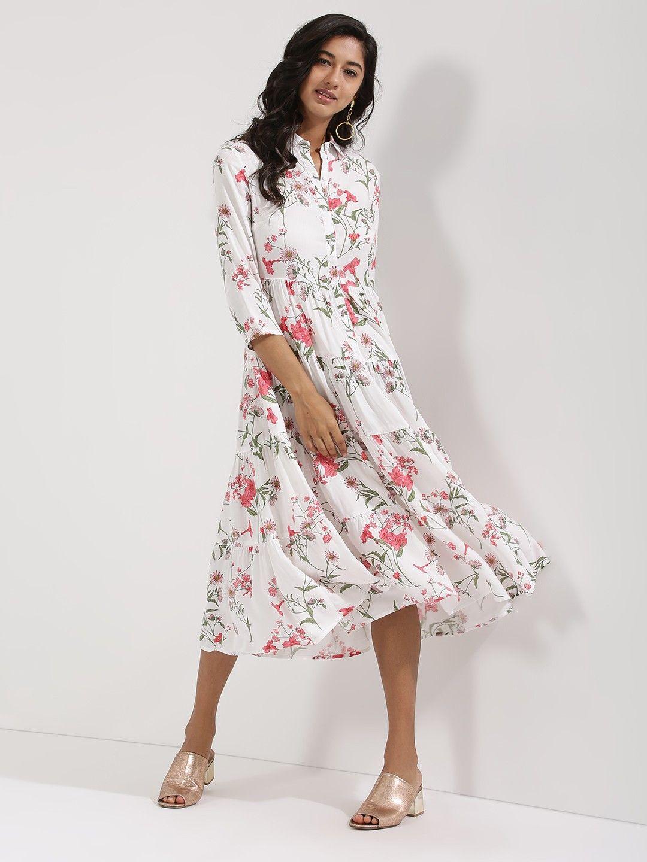 e7593b79a5 Femella White Floral Printed Tier Shirt Dress  Dress