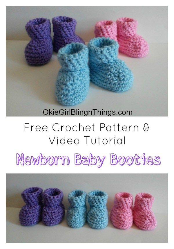 Easy Newborn Baby Booties Crochet Pattern #crochetbabyboots