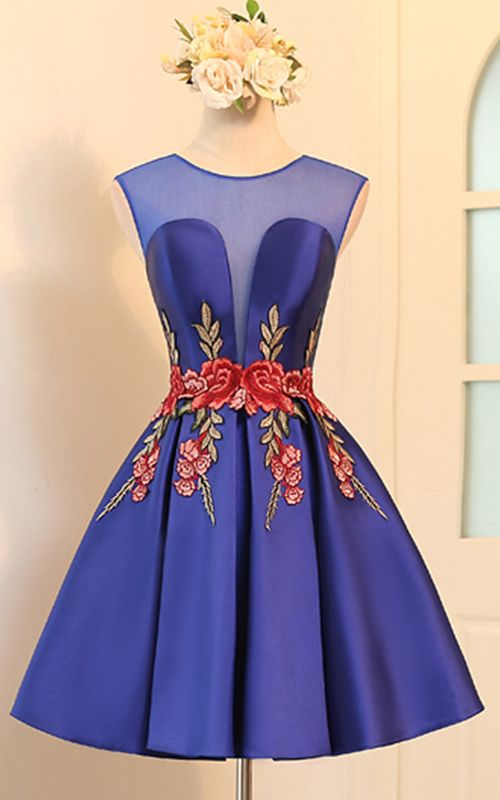 Knee Length Blue A Line V Neckline Cap Sleeve Ruched Appliques Satin Short  Homecoming Dress