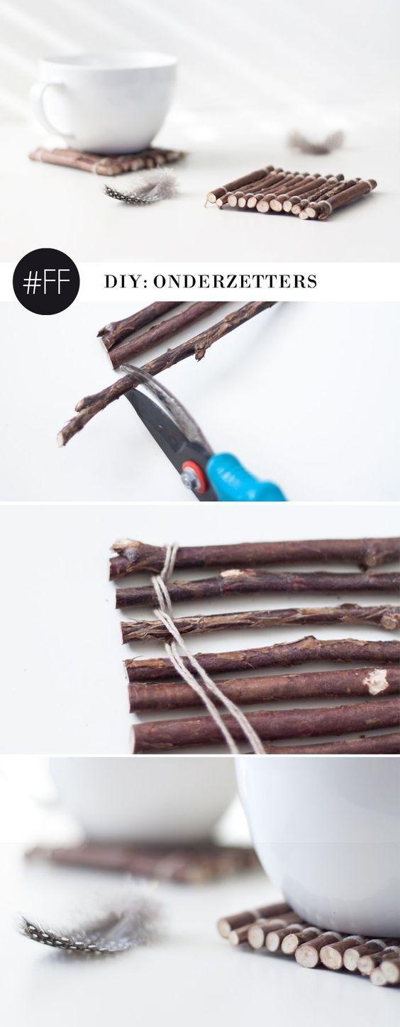 Photo of DIY: Onderzetters van takken, super easy to make!   Follow Fashion