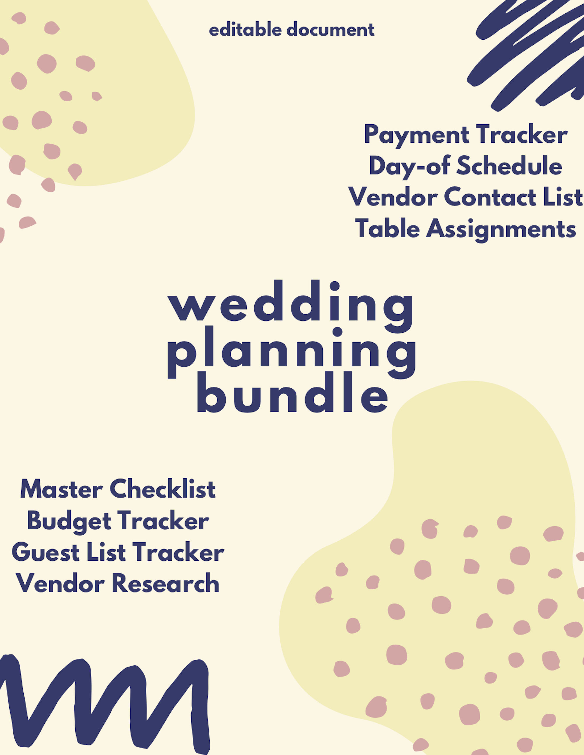Comprehensive Wedding Planning Editable Document  Master | Etsy