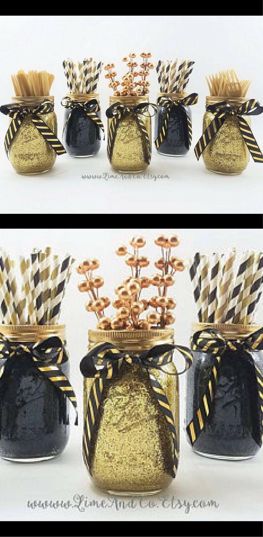 Gloss black and glittering gold decorative mason jars set of