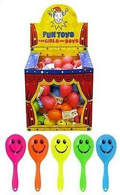 12 x MINI SMILE MARACAS RATTLE TOY GIRL BOY PINATA BIRTHDAY PARTY BAG FILLERS