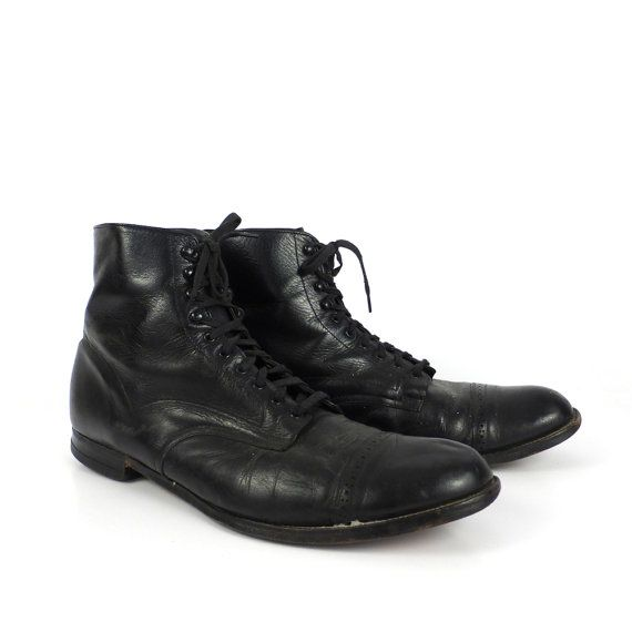 f14d3f0883a Stacy Adams Boots Vintage 1970s Madison Boots Black Leather Ankle ...