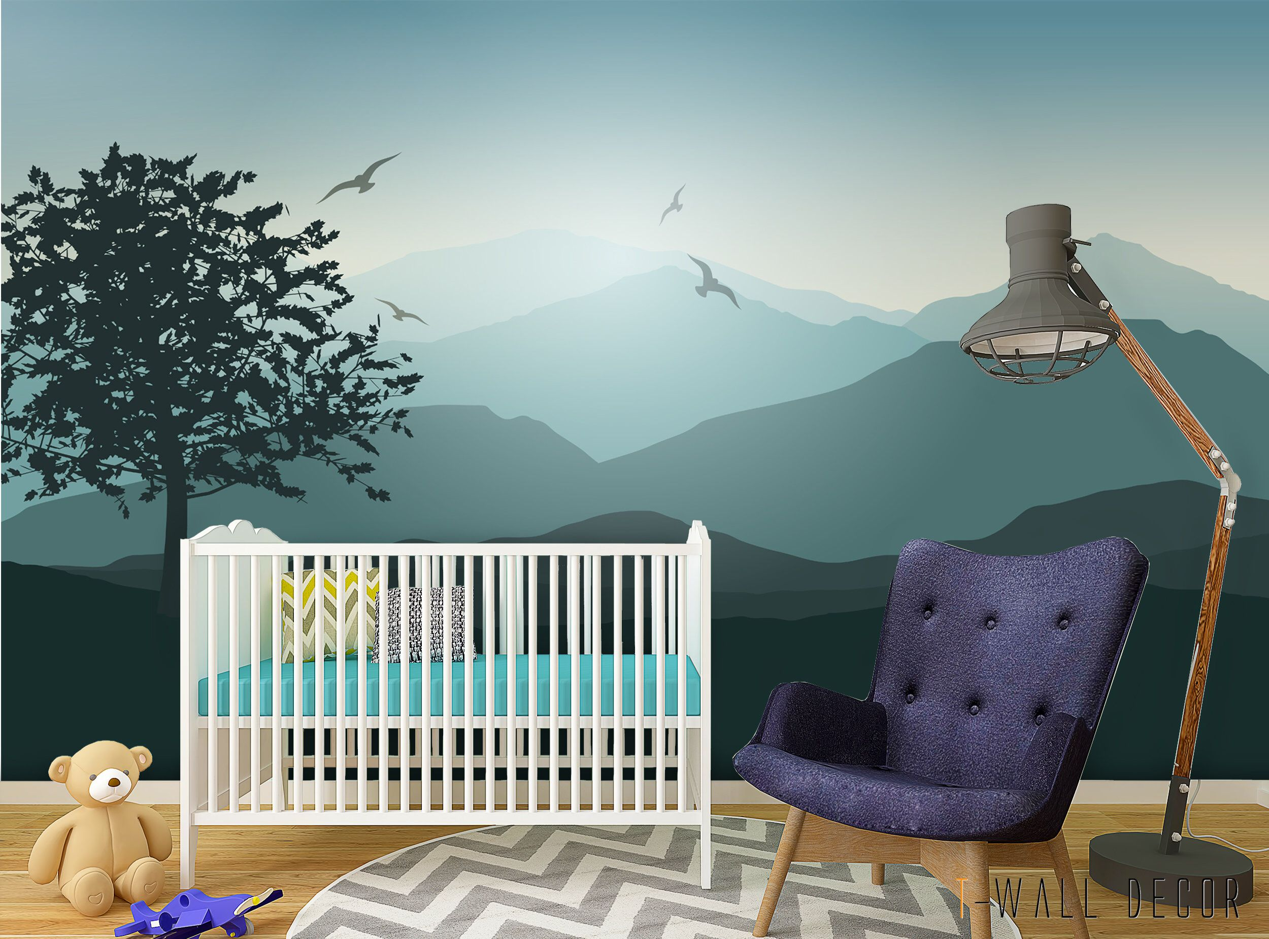 SelfAdhesive Mountain Wall Mural, Peel & Stick Nursery