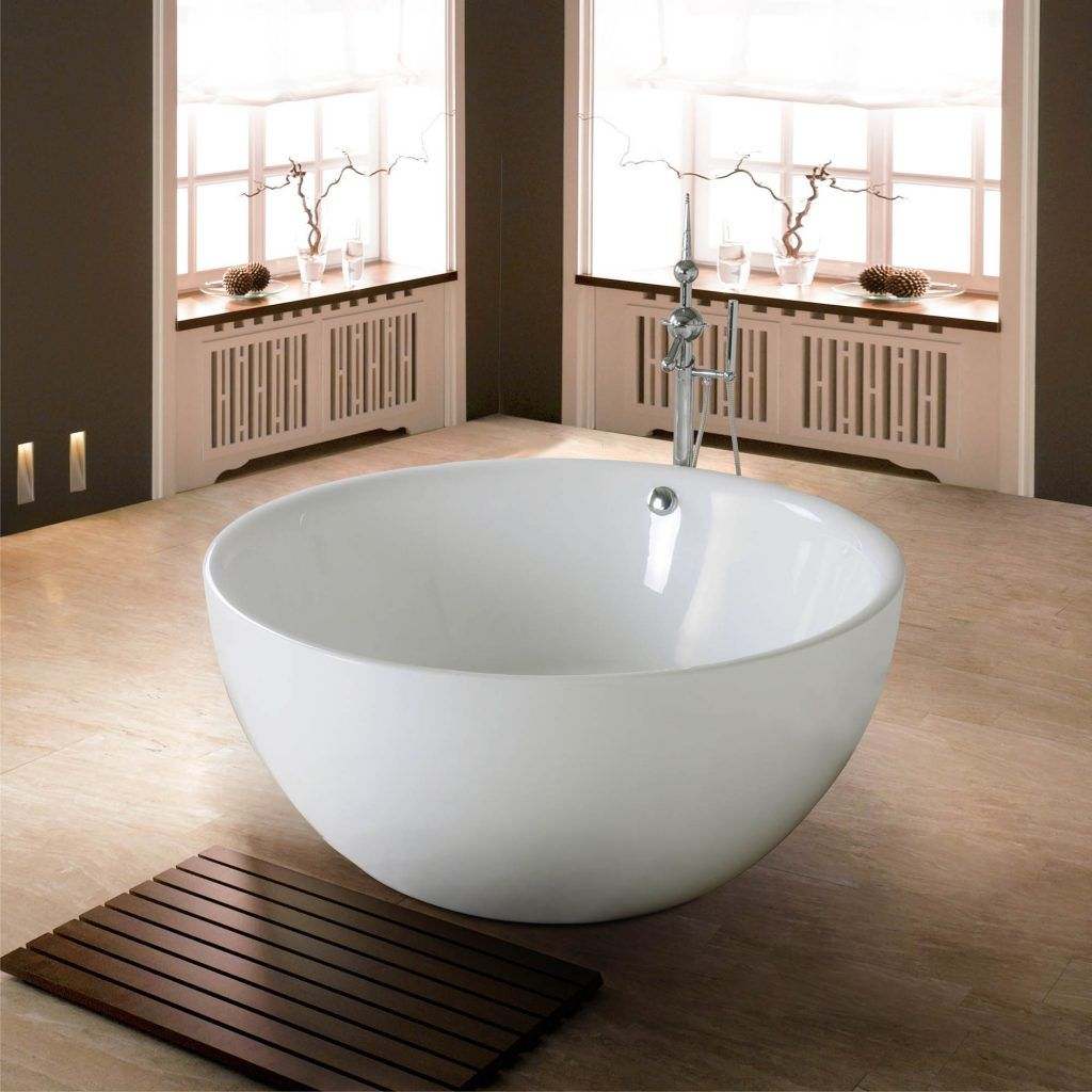 bathroom free standing rounded white porcelain bathtub combined ...