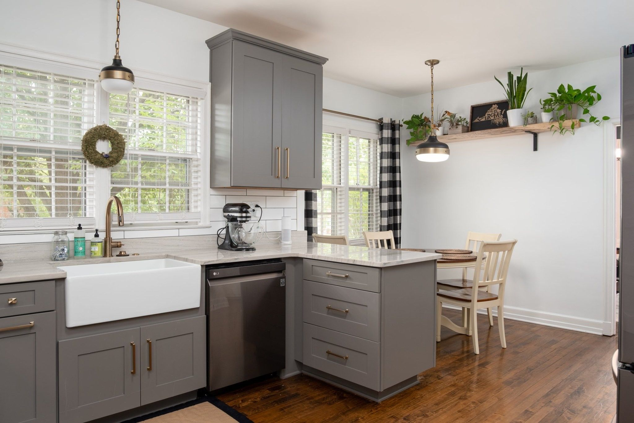 Buffalo plaid accents grey gold hardware and
