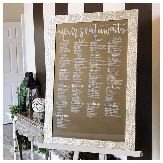 Mirror Seating Chart Hand Lettered Mirror Seating Chart Seating Charts Seating Chart Wedding