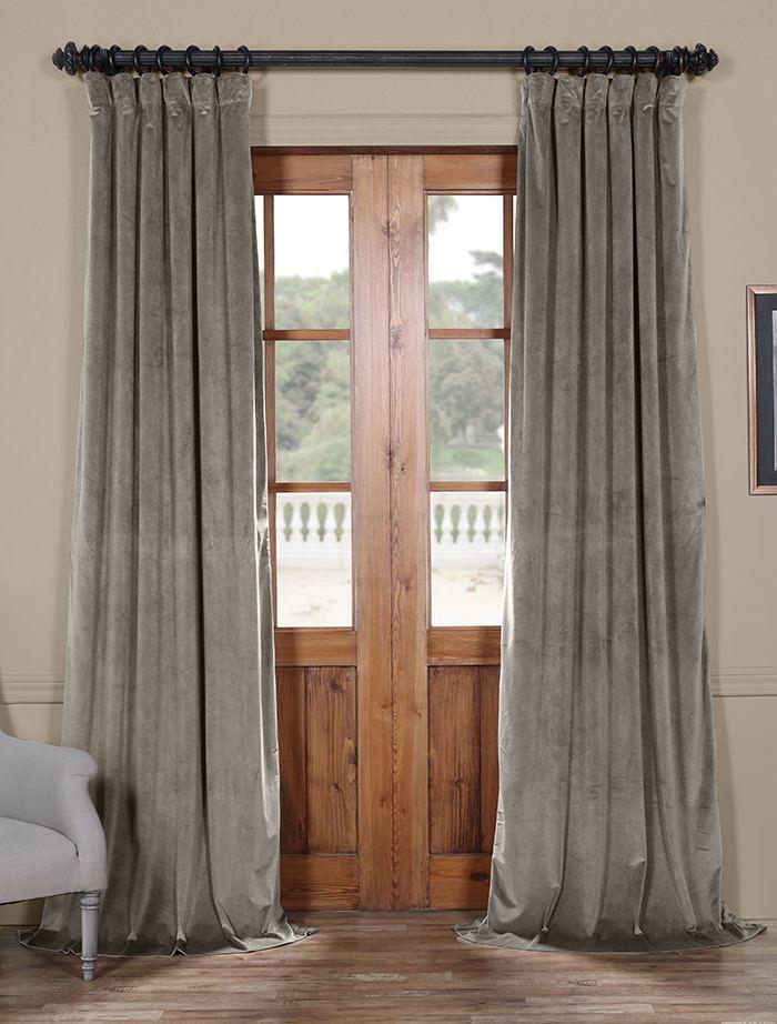 Destiny Grey Heritage Plush Velvet Curtain Panel Curtains Half