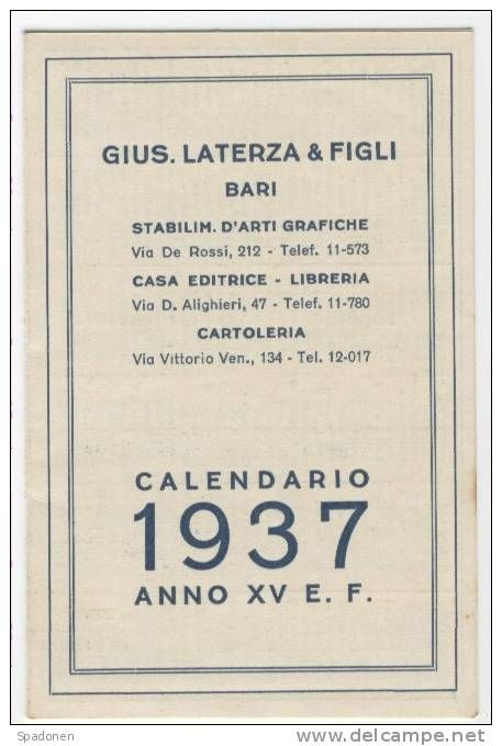 GIUSEPPE LATERZA BARI CALENDARIO TASCABILE 1937