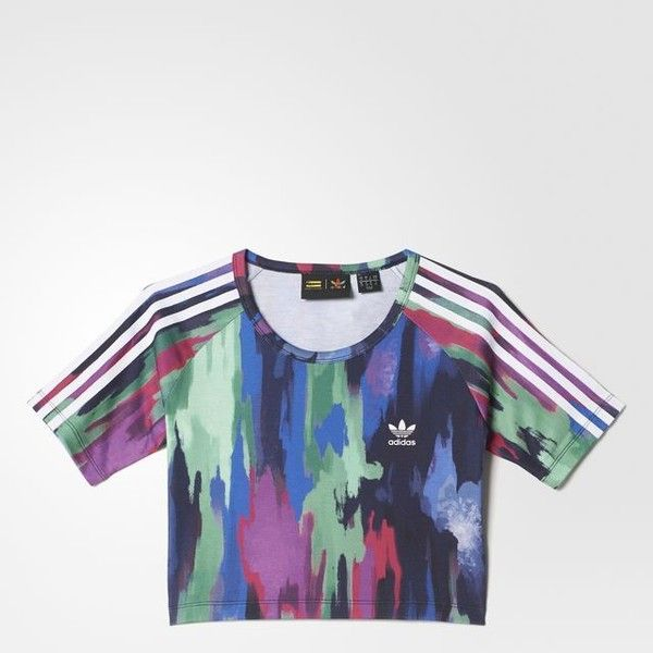 23ed20d4 adidas Pharrell Williams Camouflage Tree Cropped Tee (527.700 IDR) ❤ liked  on Polyvore featuring tops, t-shirts, slim t shirt, t shirts, camo shirt,  ...