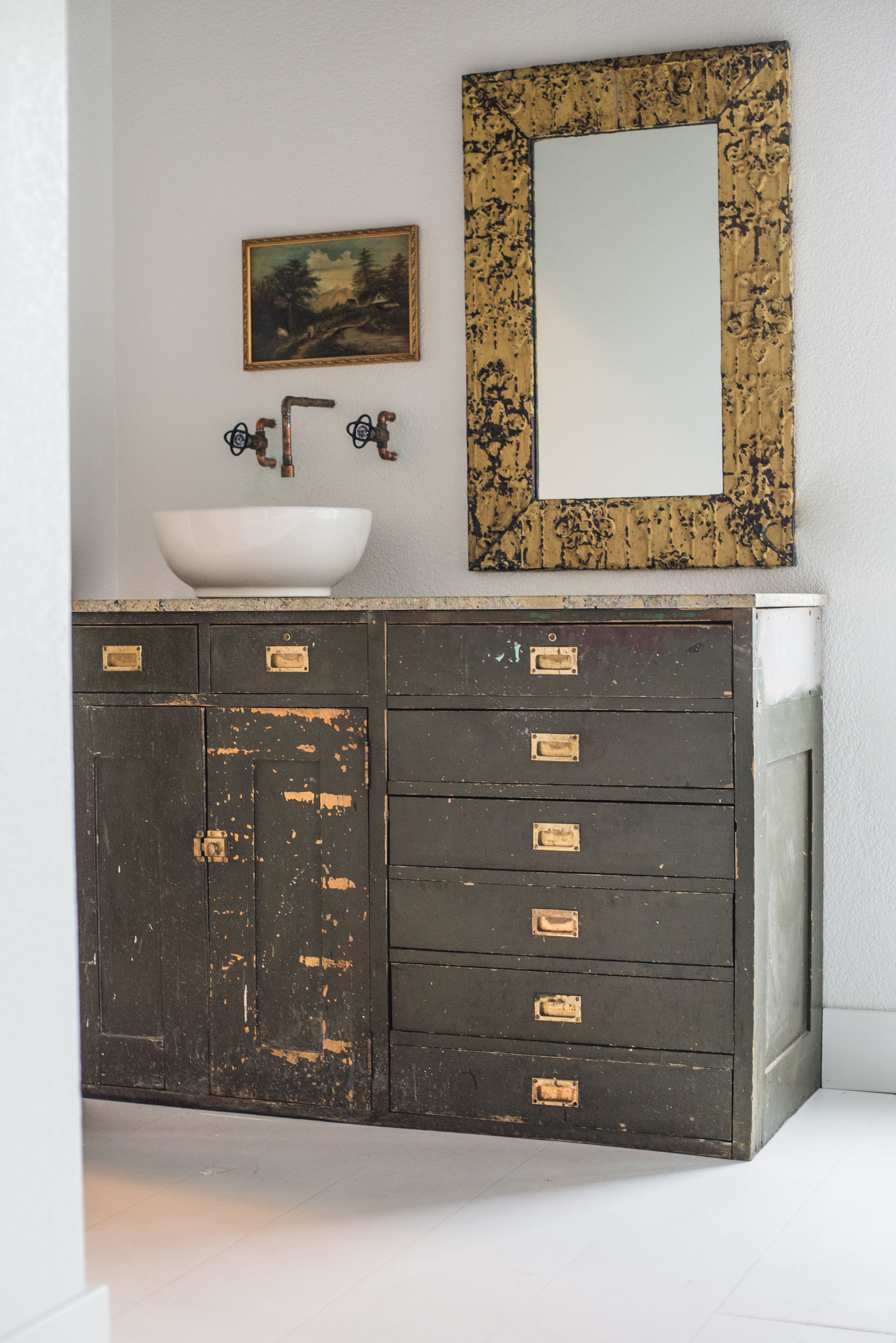 Before And After Of A Bathroom Vanity Using Recycled Furniture And