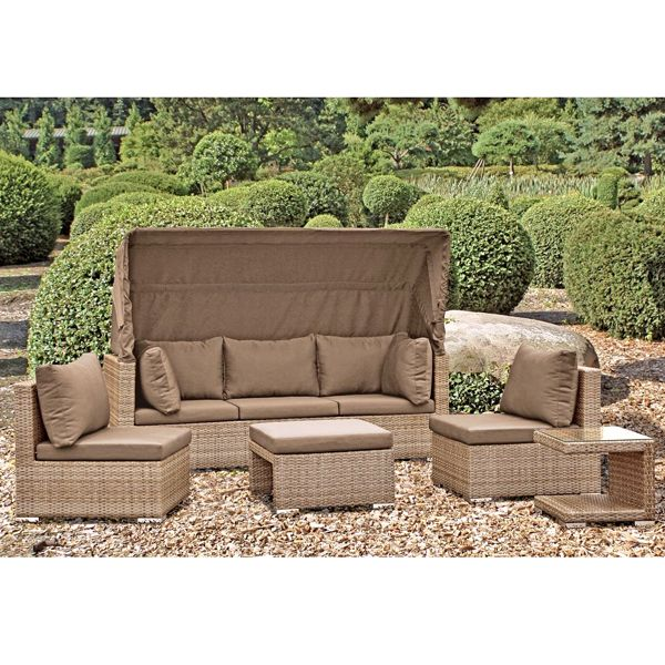 Lounge Set MALAGA sandfarben Gartenmöbel 5 teilig Auswahl · Lounge - lounge gartenmobel gunstig