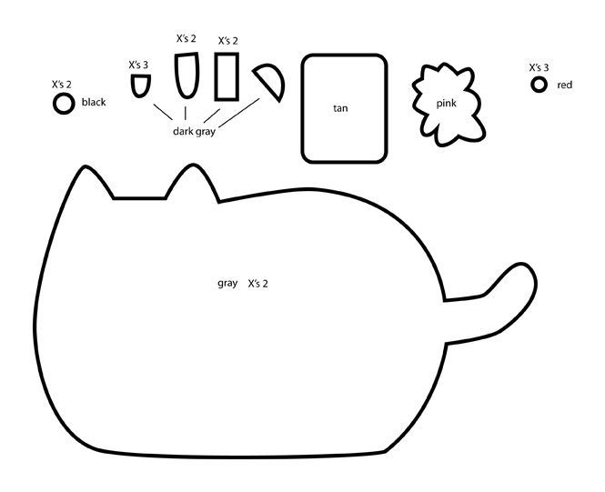 Pusheen Template Cat Template Plushie Patterns