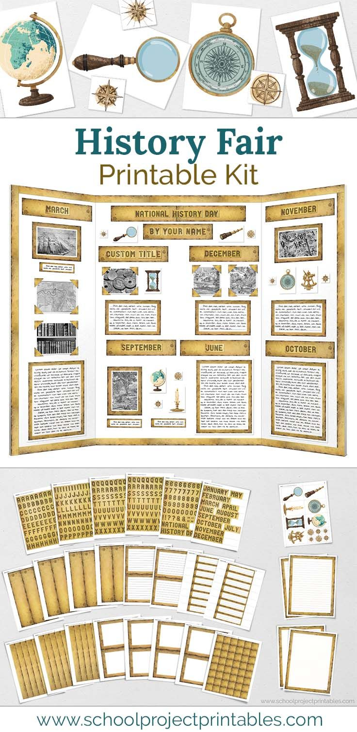 Photo of History Fair – Old Burnt Paper Themed Display Board Poster Project Kit