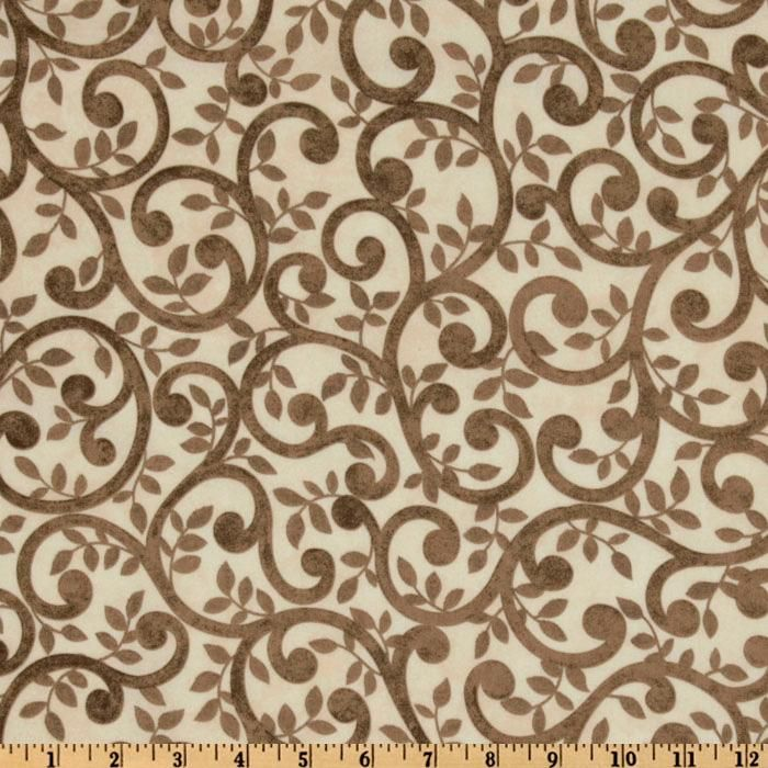 """Normandy Court 108"""" Quilt Backing Scrolling Vines Taupe/Cream"""