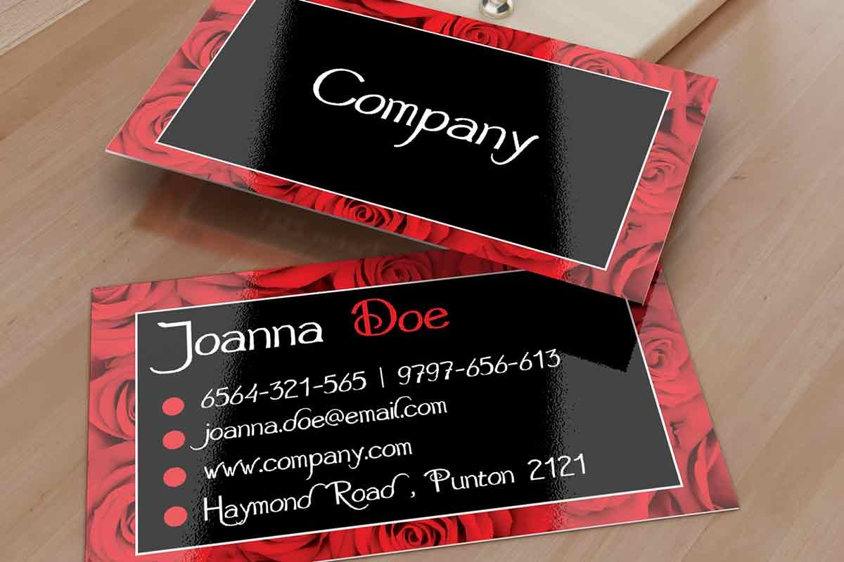 Elegant elegant black and red floral business card template. This ...