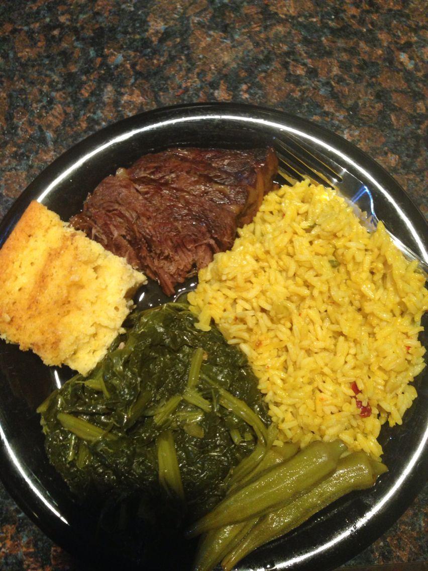 Sirloin Roast beef, collard greens and yellow rice with homemade sweet cornbread.