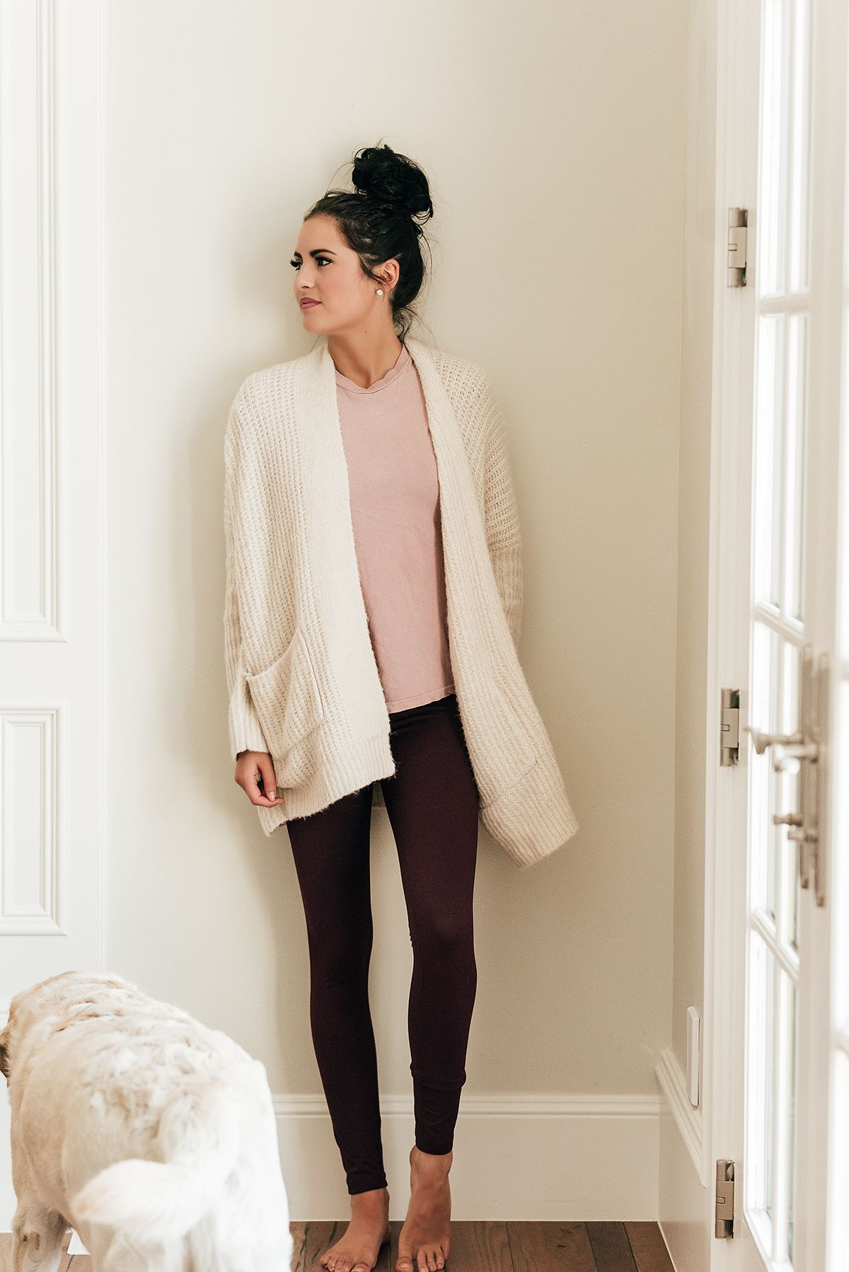 130bf4b9919ab nice cardigan and love the color combo of the pink tee, burgandy leggings  and creamy cardigan. Pink Peonies by Rach Parcell - A Personal Style, ...