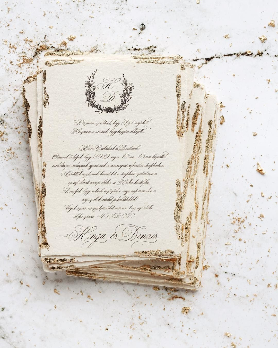 Gold Leaf Wedding Invitations On Handmade Paper With Deckled Edges By Papira Wedding Invitations Leaves Gold Foil Wedding Invitations Gold Wedding Invitations