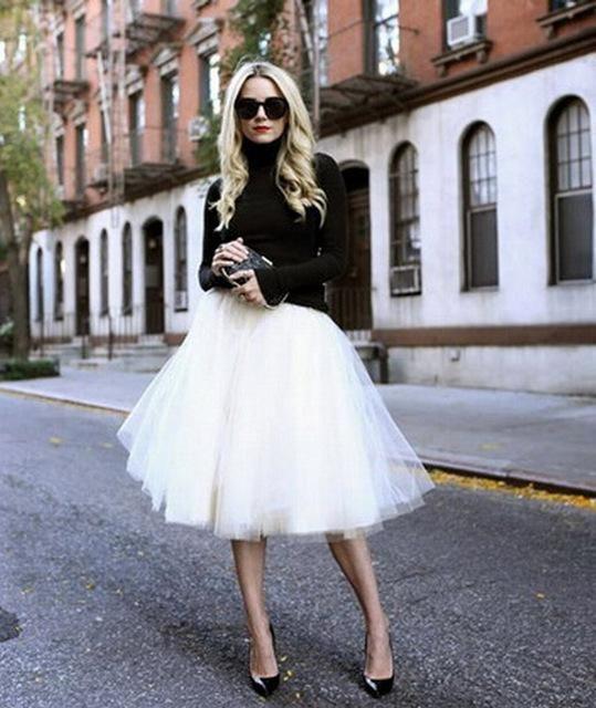 18ed6df24 New Puff Women Chiffon Tulle Skirt White faldas High waist Midi Knee Length  Chiffon plus size Grunge Jupe Female Tutu Skirts