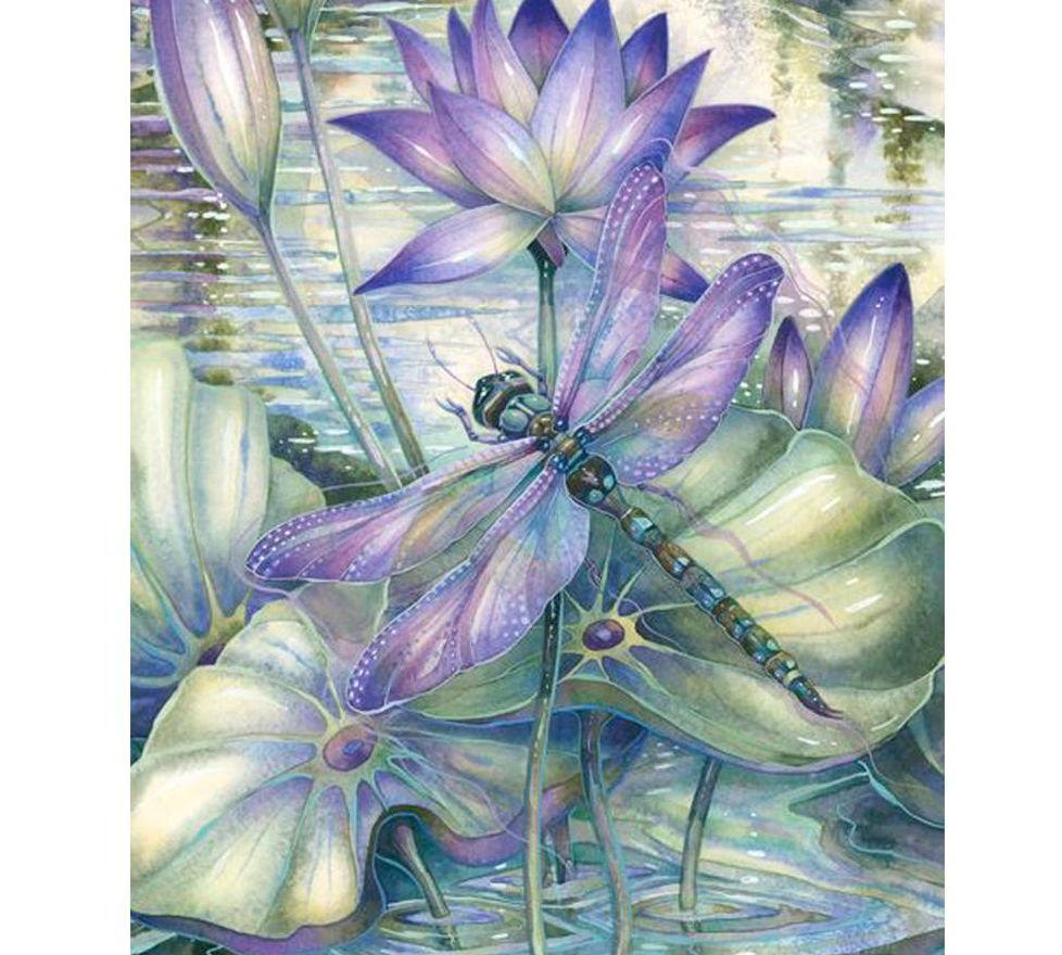 Diamants Peinture Carre Plein Fleurs Lotus Libellule Mosaique