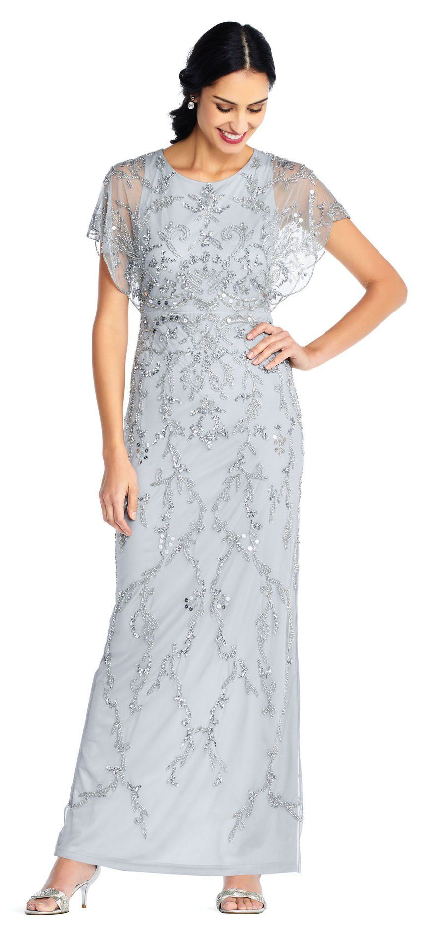 Floral Beaded Gown With Scalloped Flutter Sleeves Flutter Sleeve