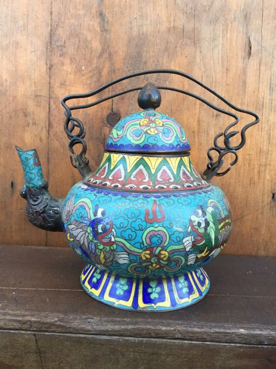 Antique Vintage Cloisonne Enamel Teapot Marked by TheGnarledRoot