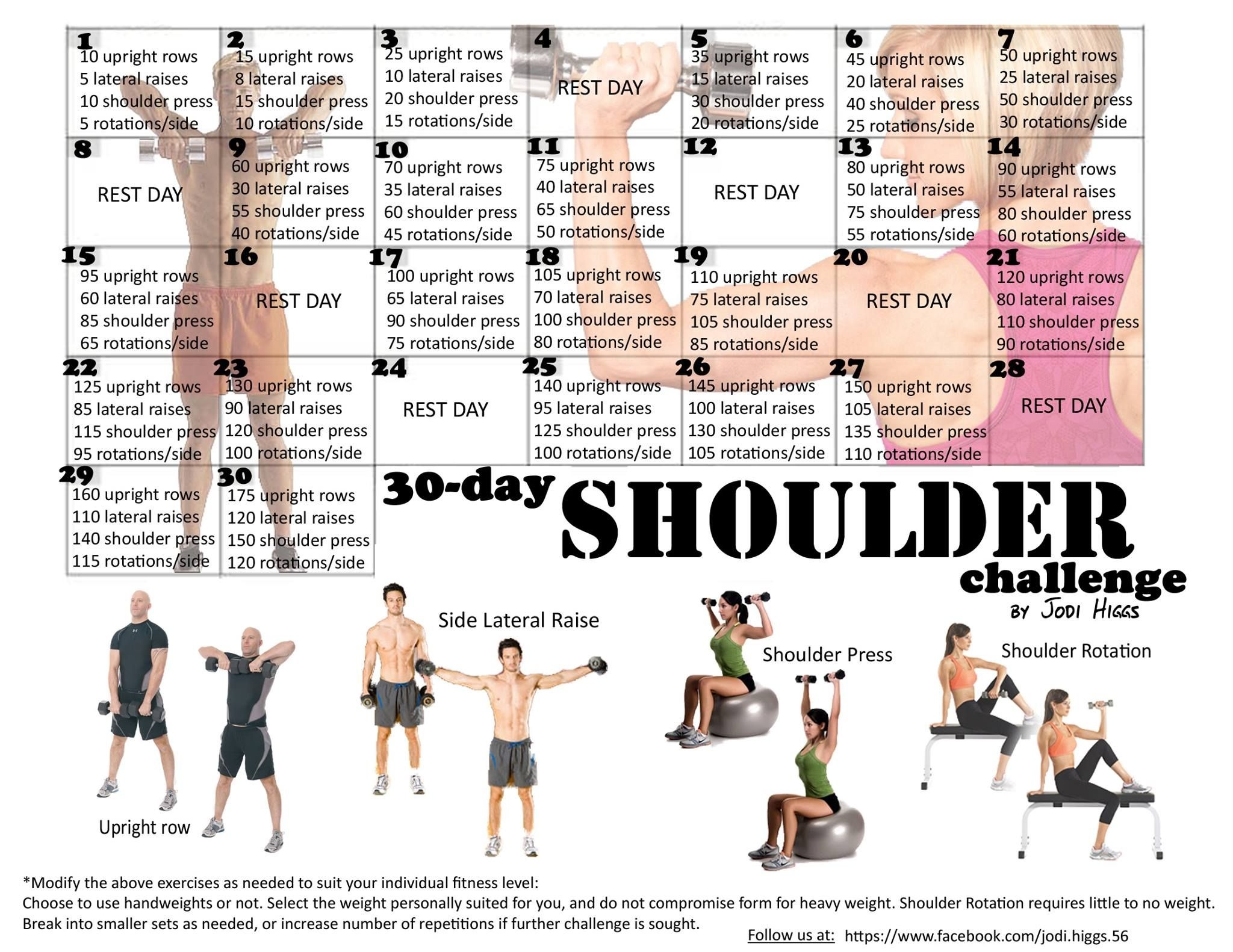 Day Shoulder Challenge Fitness Pinterest Exercises - Us weather map 30 day