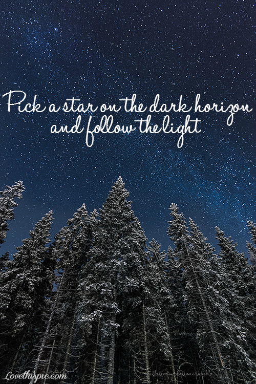 Pick A Star Love Quotes Quote Dark Sky Light Beautiful Winter Trees