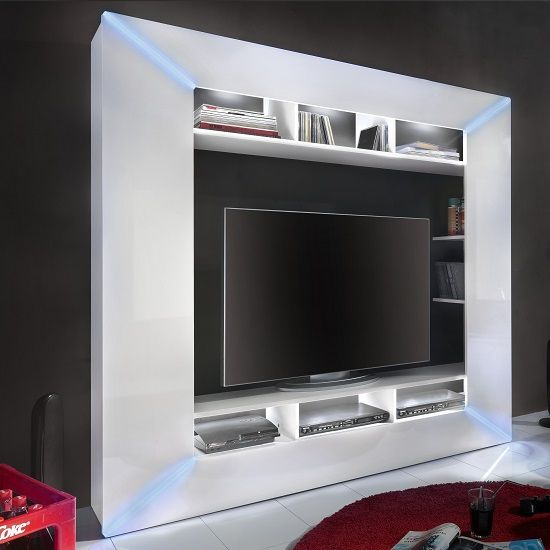 Oliver Entrtainment Unit In White Gloss Fronts With Led