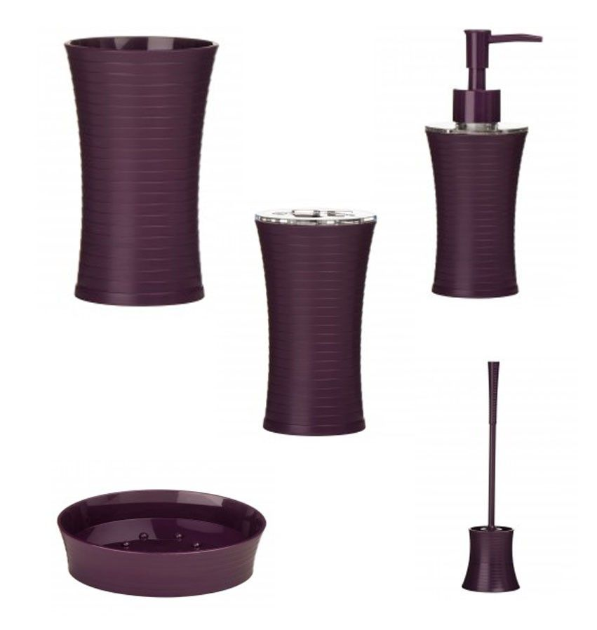 Aubergine Purple Stunning And Luxury Bathroom Accessories That Includes Soap Dish Toilet Brush Lotion Dispensor Toothbrush Holder Tumbler