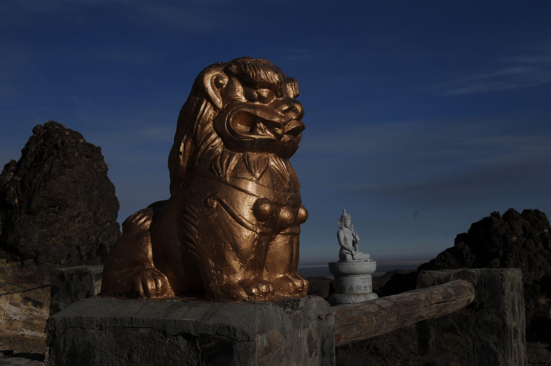 At a Mountain Temple in Gobi Gurvan Saikhan National Park. Mongolian Gobi Desert. www.stonehorsemongolia.com