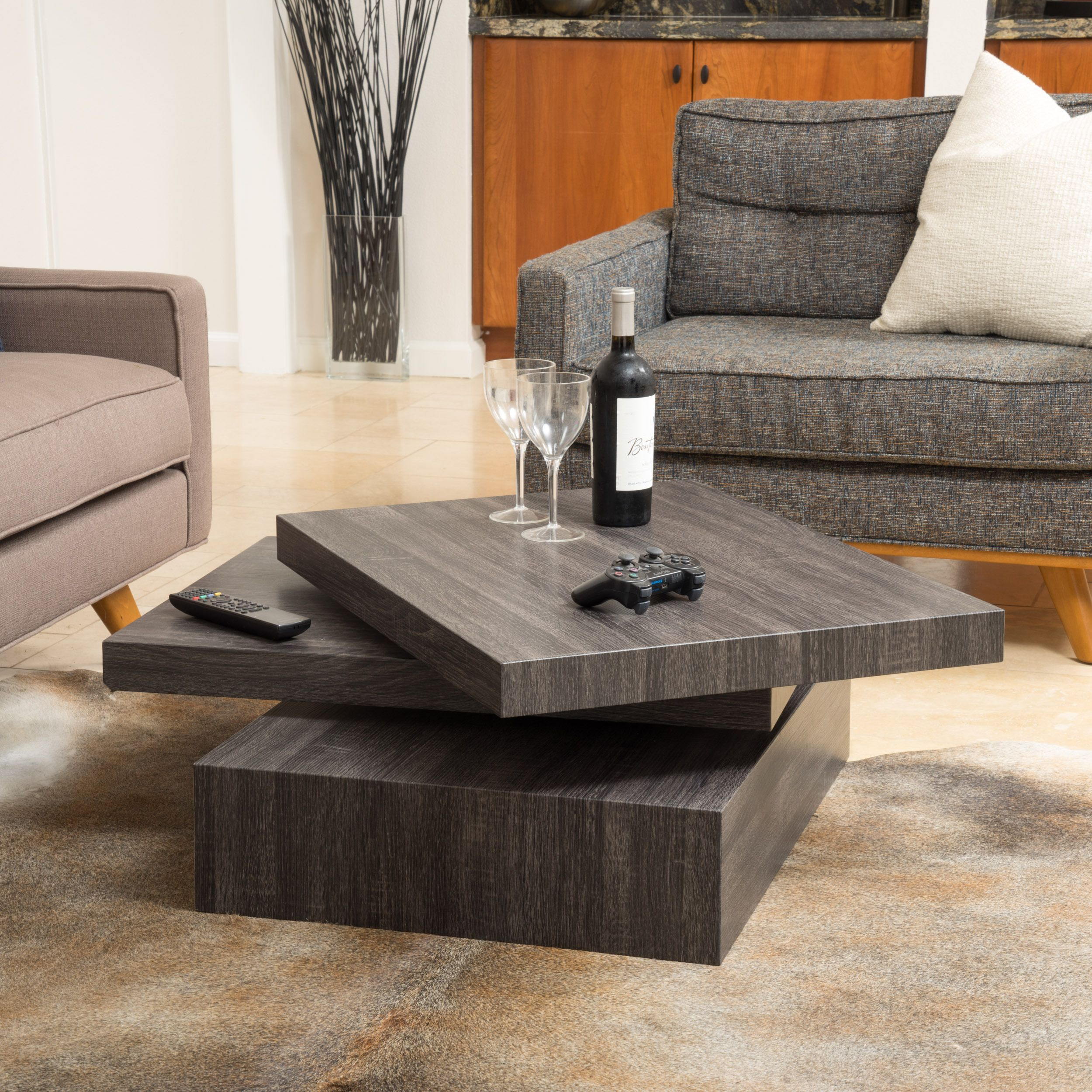 Carson Rotating Wood Coffee Table By Christopher Knight Home Black Oak