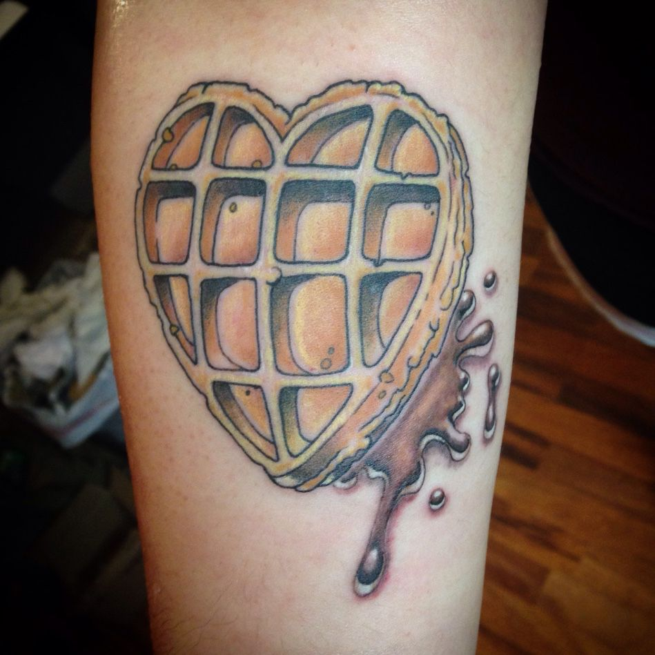 Because Jennie Loves Waffles Fun Newschool Piece Had Tons Of Fun Doing This Waffle Syrup Tattoo Art Ink Tattoos Heart Tattoo Future Tattoos