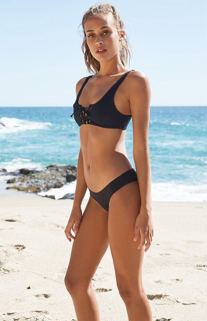 277334eaf5713 Billabong Sol Searcher Lace-Up Cropped Bikini Top - Blue Green Sml ...