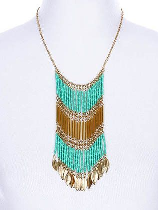 Turquoise Leaf Bib Necklace Set from Helen's Jewels