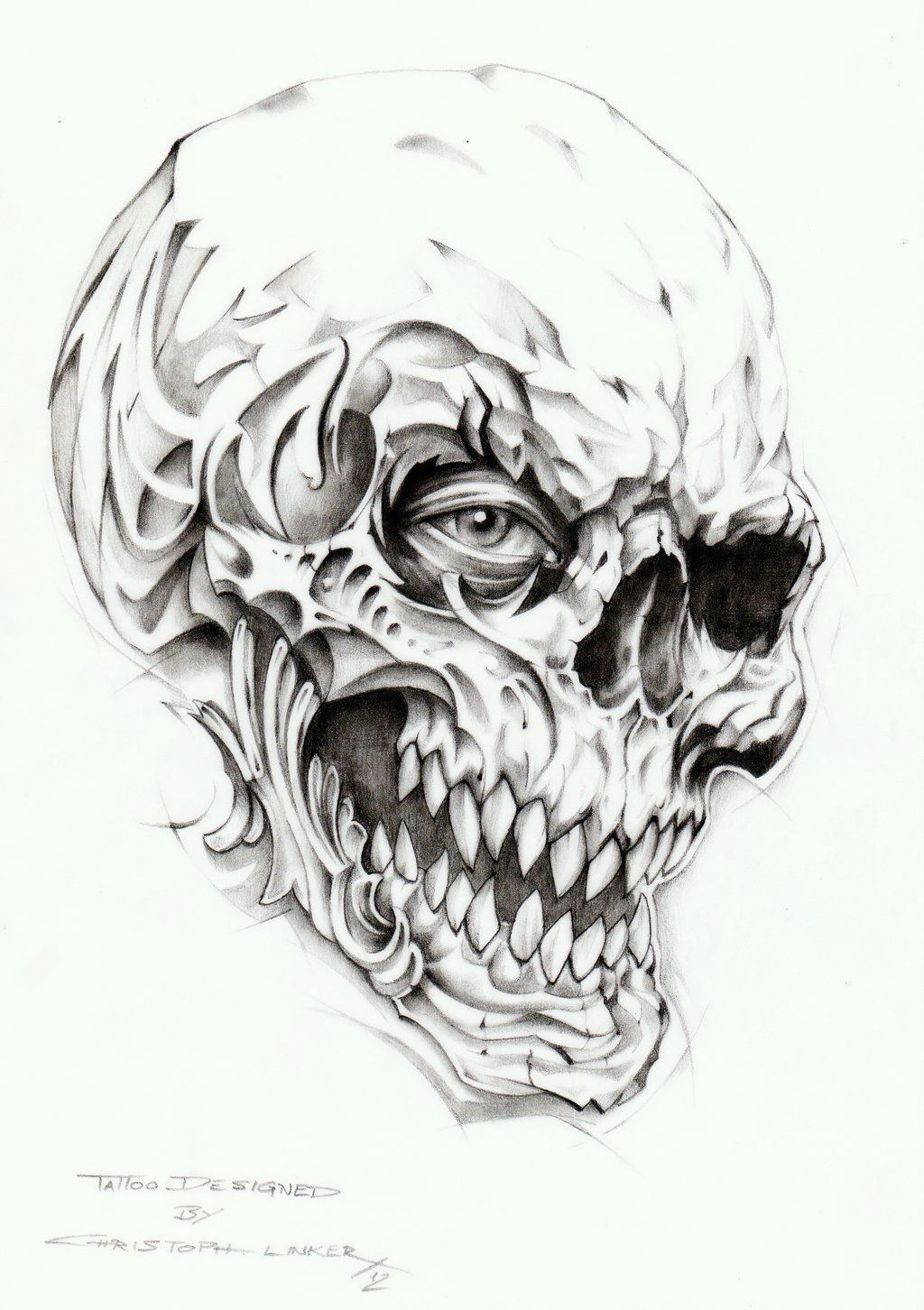 Skull Tattoo Drawing by linkerart.deviantart.com on ...