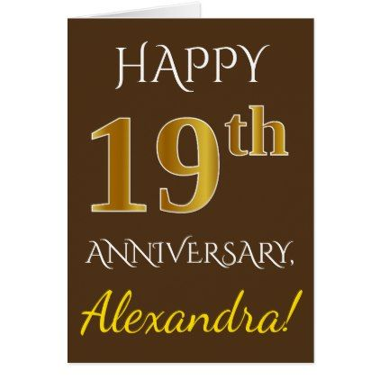Brown Faux Gold 19th Wedding Anniversary Name Card Anniversary