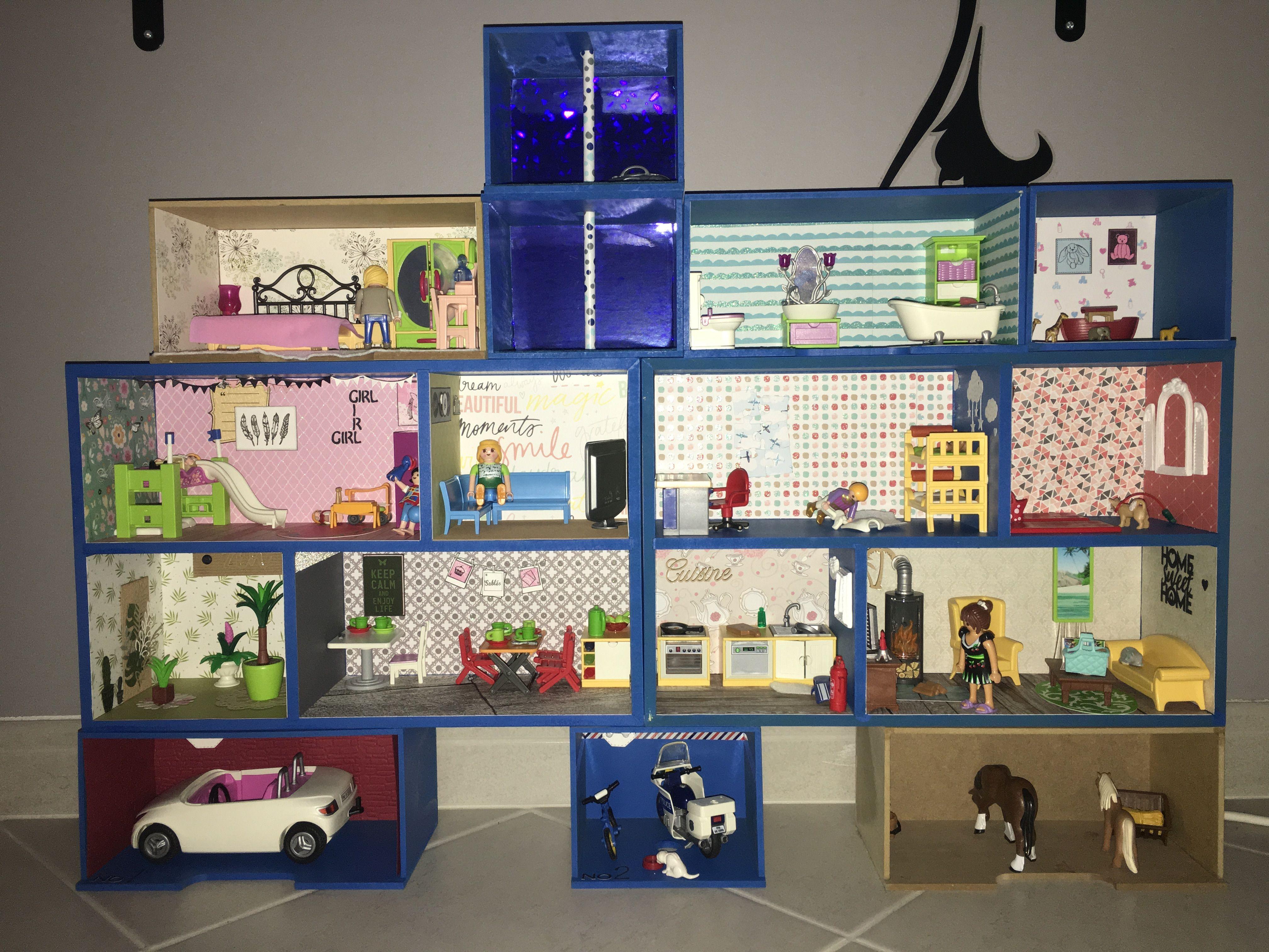 Maison pour playmobil DIY. Coin cuisine, salon, salle à ...