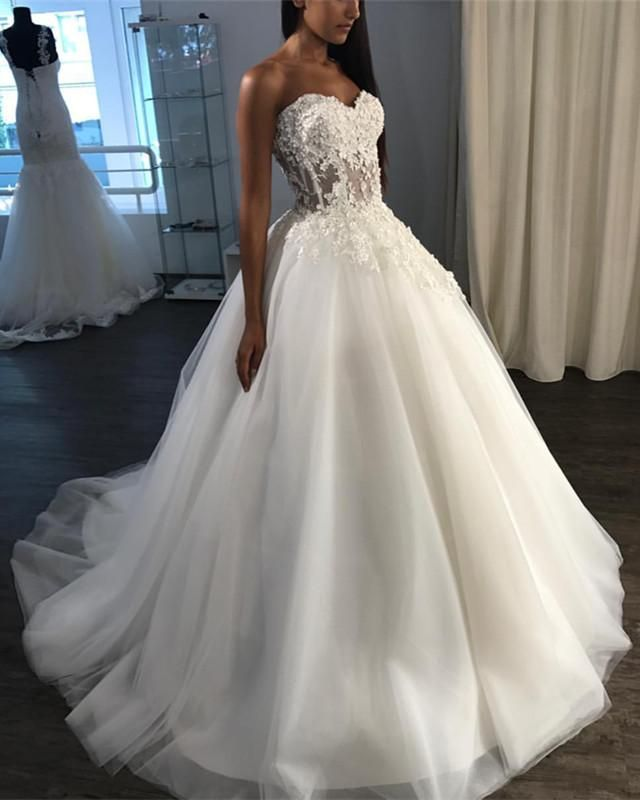 Romantic Lace Sweetheart Tulle Wedding Dresses Ball Gowns Perfect For Your Wedding Days In The Year Wedding Dresses Ball Gown Wedding Dress Tulle Wedding Dress,Sparkly Glitter Ball Gown Wedding Dress